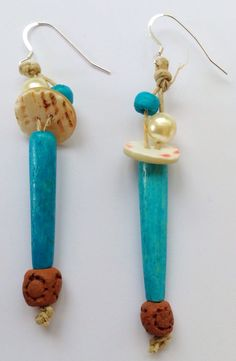 LillyLoop Jewellery ALOHA earrings, turquoise bone, vintage pearl buttons, wood beads on unwaxed organic cord and 925 ear wires ...www.lillyloop.co.uk.