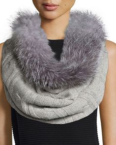 D18KD Sofia Cashmere Fur-Trim Cashmere Cable-Knit Snood, Gray