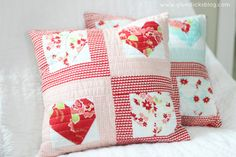 Quilted Sweetheart Pillow Tutorial shared at katherines corner