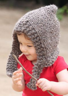 Free Knitting Pattern for Easy Woodland Hood - This hood for babies and children is an easy project and a quick knit in super bulky yarn. Sizes XS (age 1-2 years), S (3-4 years), M (4-5 years), L (6-7 years) Designed by Gina Michele