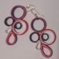 Daring Purple Pink and White Earrings Recycled Upcycled Paper #Handmade