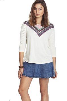Simply love Women's 3/4 Sleeved Choochoo Shirt (Small, Crem)