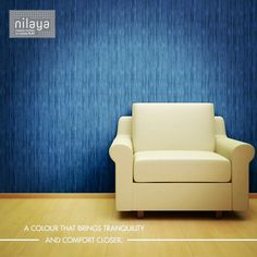Something bright, something blue! A tranquil space just for you. Reimagine your space, give it your own touch with this deep blue wallcovering from Nilaya.