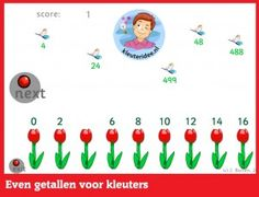 Even getallen met kleuters op digibord of computer op kleuteridee.nl  -  Kindergarten educative math game for IBW or computer