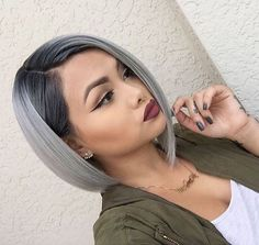 braune haare grau färben, bob frisur im ombre look, grüne jacke