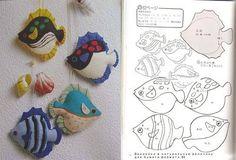 Moldes Para Artesanato em Tecido: Peixe em feltro com molde