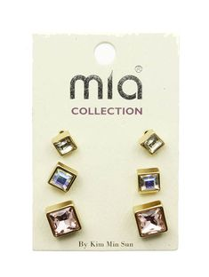Iris- goddess of the rainbow! The Rainbow!  Iris Rhinestone 3 Earring Set is perfect for jazzing up multiple piercings in a row.  Starting with the largest pink square rhinestone at the bottom, you move up to the medium sized iridescent, also known as aurora borealis, square rhinestone, and t... #SweetSangria #jewelry #trending #eyecandy #unique #boho #accessories #fashion #coolmom #womensjewelry