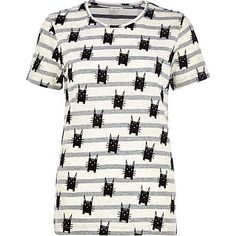 Grey stripe cat print t-shirt 12,00 €