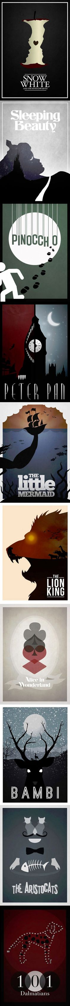 Disney Films (minimalist posters)   Snow White, Sleeping  Beauty, Pinnochio, Peter Pan, The Littler Mermaid, The Lion King, Alice in Wonderland, Bambi, The Aristocrats, & 101 Dalmatians