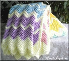 Pastel Ripple Rainbow Afghan. Free pattern.