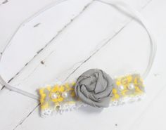 All My Suns - headband in yellow, white and grey by SoTweetDesigns