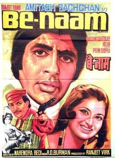 Benaam (1974),   Amitabh Bachchan, Classic, Indian, Bollywood, Hindi, Movies, Posters, Hand Painted 70s Films, Indian Hindi, Bollywood Posters, Thing 1, Amitabh Bachchan, Indian Movies, Old Movies, Cinema, Movie Downloads