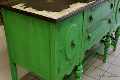 A Buffet Make over Tip | use Mod Podge and wrapping paper to fill the places where veneer is damaged