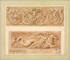 Author: Clerisseau, Charles-Louis. 1721-1820 Title: Ornamental Design. Naiad Riding the Hippocampus Place: France Date: 1750s Technique: pen and Indian ink and brown wash, brush and brown and grey wash Dimensions: 9,2x26 cm