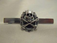Mens Tie Bar Tie Clip Gothic Skull and Cross Bones by AGothShop, $18.00