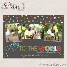 joy to the world polkadots- Custom Christmas Cards or Holiday Greeting Card