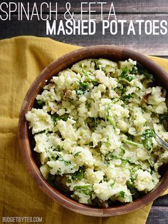 A little fresh spinach and feta dresses up your favorite mashed potatoes. Spinach and Feta Mashed Potatoes - BudgetBytes.com #vegetarian #glutenfree