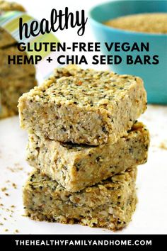 Raw Hemp and Chia Seed Bars These plant-based Gluten-Free Vegan No-Bake Hemp and Chia Seed Bars are an easy recipe to make using clean, real food ingredients. These nutrient-dense energy bars can be p Healthy Bars, Good Healthy Recipes, Healthy Foods To Eat, Healthy Treats, Raw Food Recipes, Easy Recipes, Healthy Lunches, Healthy Eating, Chia Vegan