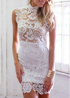 Sleeveless Turtleneck White Lace Crochet Dress on sale only US$15.34 now, buy cheap Sleeveless Turtleneck White Lace Crochet Dress at martofchina.com