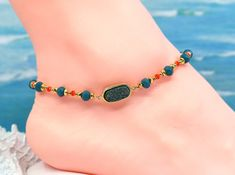 Blue druzy anklet, colorful anklet, girls jewerly, gift under 30 by CustomAnkletsByLori on Etsy Hippie Boots, Copper Gifts, Crystal Beads, Crystals, Boot Jewelry, Boot Bling, Thing 1, Beach Jewelry, Ankle Bracelets