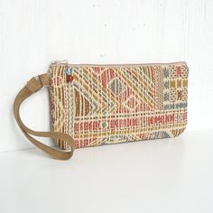 Cotton Wristlet Clutch, Zippered Wrist Purse - Tribeca Tapestry in Sand, Rust and Gold