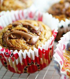 Μαφιν μπανάνας με πραλίνα φουντουκιού / nutella swirl banana muffins