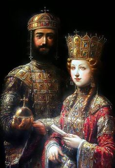 Stunning Byzantine Clothing ..... John II Komnenos Kaloyannis ( good and beautiful John) and Irene ( Piroska ) Arpad, Hungarian Princess .......