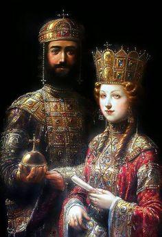 Stunning Byzantine Clothing ..... John II Komnenos Kaloyannis ( good and beautiful  John) and Irene ( Piroska ) Arpad, Hungarian Princess .......
