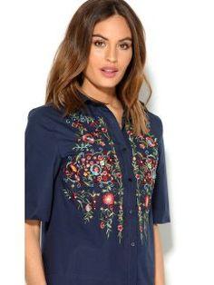 Camisa mujer manga 3/4 de algodón con bordado floral