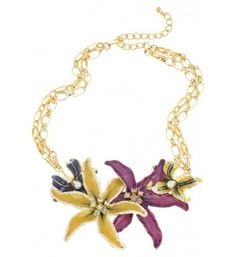 Kenneth Jay Lane Gold & Enamel Flower Pendant Necklace at Zentosa