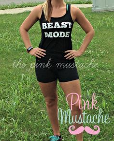 Beast Mode Workout Tank / Funny Workout Tank Top by PinkMustache1, $18.00
