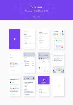 Planguru - Free Mobile UI Kit .sketch  by Patryk Pustół