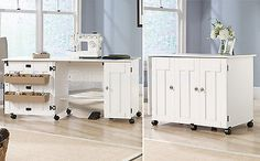 Portable Sewing Machine Table Crafting Desk Drop Leaf Bins Rolling Cart White