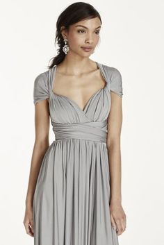 The options are endless in this versatile and chic covertible jersey dress! Floor length jersey sheath dress can be styled in endless ways. For a truly unique bridal party, y Infinity Dress Ways To Wear, Infinity Dress Styles, Davids Bridal Bridesmaid Dresses, Bridesmaid Dress Styles, Bridesmaids, Wedding Dresses, Multi Way Dress, Convertible Dress, Custom Dresses