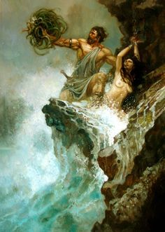 Title: Perseus, Artist: Justin Sweet, Date of Origin: April 4, 2007 This illustration depicts Perseus' use of Medusa's head to save Andromeda from the sea monster. In this particular depiction, Perseus' heroism and fearlessness are emphasized.