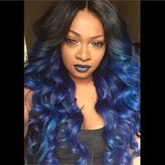 Midnight Blue Purple Ombre Hairstyle Black Beauty Weave Hair Style