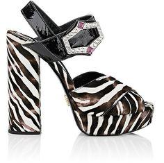 Womens Hibiscus Silk Platform Sandals Prada zxxEKiI