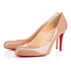 "The ever-graceful ""Simple Pump"" is the shoe Monsieur Louboutin says every lady should have in her closet. The round toe and sturdy stiletto heel make for a classic shape that glows from sunrise to sunset, and beyond. This 85mm version in nude patent leather is a top choice for your closet in need."
