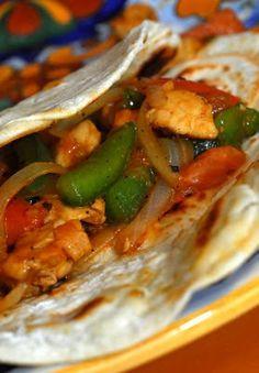 Chicken fahitas with homemade tortillas