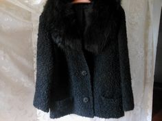 Vintage Black Persian Curly Lamb's Wool Coat Jacket Real Fur Collar Size M or L at Quilted Nest Wool Coat, Fur Coat, Cute Modest Outfits, Scarf Holder, Buttonholes, Fur Collars, Black Satin, Vintage Black, Persian
