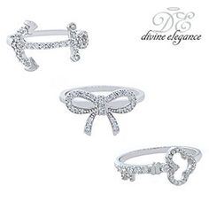 Sterling Silver Cubic Zirconia Rings in Your Choice of 3 Designs