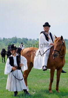 """Hungarian """"Csikós"""" (horse herder not cowboy) in traditional costume on The Great Plain of Hungary at Bugac, Hungary - Photo by Tim Graham Folk Costume, Costumes, Man Skirt, Folk Clothing, Great Plains, Equestrian, The Past, Horses, Traditional"""