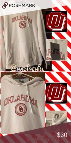 Item OU Hoodie NWT (OFFERS WELCOME) ❤️ NWT White Hoodie w/red oh emblem. Size is 16/18 in kids can fit a extra small 00-0 in juniors. Comes from smoke free & pet free home. Pls use offer feature to make offers  & use the bundle feature option to save even more. Feel free to ask any questions & Thanks for stopping by. Be Blessed ❤️ Russell Tops Sweatshirts & Hoodies