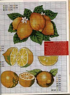 Gráficos de frutas em ponto cruz tão realistas que parece que você vai sentir o cheiro. Lindos para bordar em toalhas de mesa, bordar em panos de prato. Enfeite a sua cozinha com lindos bordados de frutas...