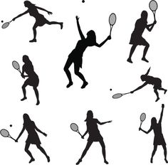 Vectores libres de derechos: Tennis Silhouette Collection