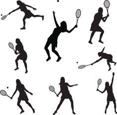 Vectores libres de derechos: Tennis Silhouette Collection