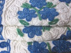 Vintage Chenille Bedspread, Thick Tufted Blue and White on Etsy, $130.00