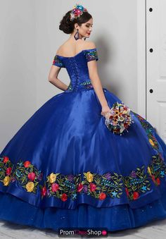 Stand out at your quinceanera and wear this vibrant ball gown 24061 by LA Glitter. Featured is a fitted bodice and a lovely sweetheart off the shoulder . Xv Dresses, Dresses For Sale, Blue Dresses, Fashion Dresses, Prom Dresses, Mexican Quinceanera Dresses, Quinceanera Party, Mariachi Quinceanera Dress, Quince Dresses Mexican