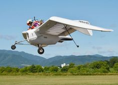 Kazuhiko Hachiya takes his compact airplane out for a spin at Takikawa Sky Park in Takikawa, Hokkaido, on July 21. The software developer based the aircraft on a flying machine in Hayao Miyazaki's animated movie
