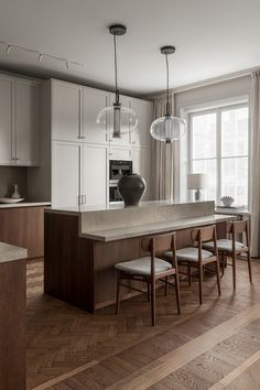Nordic Kitchen, Home Decor Kitchen, Home Kitchens, Kitchen Dining, Kitchen Island, Kitchen Ideas, Kitchen Floors, Kitchen Rustic, Kitchen Cart